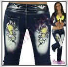 Sexy Women's Tattoo Jeans Ladies Bootcut Crazy Age Trousers Size 6,8,10,12,14 UK