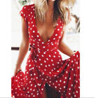 UK Women's Vintage Spotted Short Sleeve Long Maxi Dress BOHO Holiday Party Dress