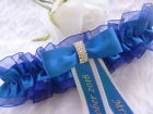 """BN PERSONALISED WEDDING/HEN GARTER  CHOICE OF COLOURS LARGE GARTER FITS 21""""-25"""""""