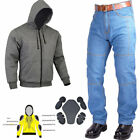 Men's Motorcycle Bikers DENIM Jeans & Motorcycle Racing Fleece Jacket Hoodie