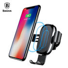 Baseus 10W QI Wireless Fast Charger Car Holder For iPhone Samsung Xiaomi Huawei
