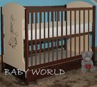 MIKI WALNUT/CREAM BABY COT WITH DRAWER + HIGH QUALITY MATTRESS OPTIONAL