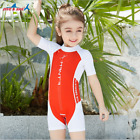 One Piece Girls Short Sleeve Swimsuit Sunsuit Kids Rash Guard Beach Swimwear