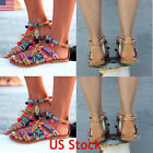 ladies shoes - Womens Low Flat Heel Ladies Lace up Back Gladiator Sandals Flip Flops Shoes Size