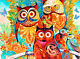 ACEO BRIGHT ABSTRACT OWLS FINE ART PRINT FROM ORIGINAL WATERCOLOR