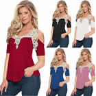 Womens Summer Cold Shoulder Tee Short Sleeve Blouse Casual T Shirt Cotton Tops