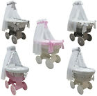 COMPLETE WICKER MOSES BASKET with STAND BIG WHEELS BEDDING DRAPE 12 COLOURS
