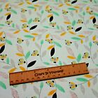 Turquoise floral flower songbird 100% cotton fabric 44 inch/ 110cm spring green