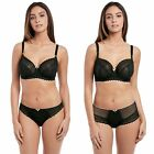 Discounted Freya Daisy Noir Black Lace Balcony UW Bras & Brazilian & Brief Sets