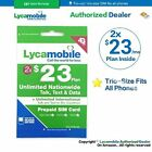 LYCAMOBILE Preloaded Triple punch 3in1 SIM Card $23/$29/$35 1/2/3 Months