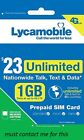LYCAMOBILE Preloaded Triple punch 3in1 SIM Card $23/$35/$50 1/2/3 Months