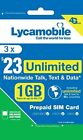 LYCAMOBILE Preloaded Triple punch 3in1 SIM Card $23-$35-$50 1-2-3 Months