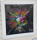 Murciano multi-coloured spiked skull pictures with crystals &white glass frames