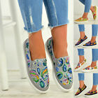 New Womens Embroidered Flat Trainers Ladies Sneaker Plimsolls Slip On Shoes Size