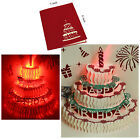 Handmade 3D Pop Up Greeting Cards LED Light  Happy Birthday Music Postcards