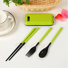 Portable Folding Fork Spoon Chopsticks Set with Case Outdoor Travel Cutlery