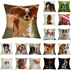 Dog Pattern Linen Throw Pillow Case Sofa Bed Cushion Cover Home Decor Natural