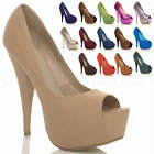 WOMENS LADIES HIGH HEEL PARTY EVENING WEDDING PEEP TOE COURT SHOES SANDALS SIZE