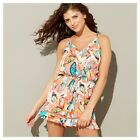 Floozie By Frost French Womens Coral Butterfly Print V-Neck Playsuit
