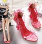 Hot Women Sweet Flower Shoes Transparent Beach Wedge Heel Party Slip On Sandals