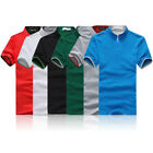 Men's V Neck Stand Collar Tops Slim Fit Casual T-shirts Shirt Short Sleeve Tee  image