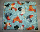 Roosters White/Black Rust/Gray Rust Tossed on Aqua Baked Potato Corn Baker Bag