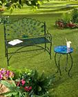 Outdoor Metal Peacock Seat Bench Patio Garden Porch Furniture Glass Accent Table