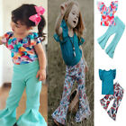 Toddler Kid Baby Girl T-shirt Tops+ Flared Floral Pants 2pcs Set Outfits Clothes