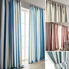 "Hampton Vertical Printed Stripe 3"" Lined Curtains - Blue Green Grey Heather Red"