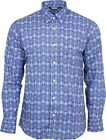 Relco Mens Royal Blue Paisley Long Sleeved Button Down Vintage Shirt Mod 60s 70s