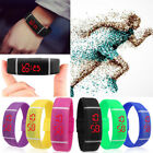 Sports LED Wrist Watch Silicone Rubber Digital Running Womens Mens Boys Girls image