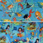 Mermaids 100% Cotton Fabric by Nutex Two Designs Fat Quarter