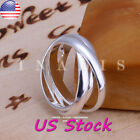 925 Sterling Silver Fashion Ring Simple Thumb Finger Band Ring Wedding Jewelry