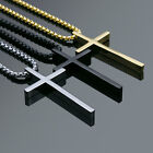 Men's Fashion Jewelry Plain Charm Gold Black Silver Cross Pendant Chain Necklace