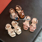 Summer Baby Child Kids Girl Front Big Bow Knot Open Toe Sandal Velcro PU Shoes