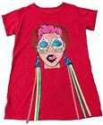 Womens Oversized Casual Ladies Ice Cream Face Ribbon T-shirt Top Tee Dress
