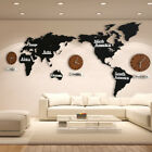 DIY 3D Wooden Wall Clock World Map Large Wall Clock Modern European Style Mute