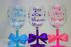 Personalised Disney Name Name Happy Birthday Glitter Wine Glass 18th 21st 30th