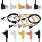 Right Angle Charger 90 Degree Braided USB Data Sync Cable Lead For iPhone & iPad