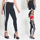 SALE Women Ladies Stripe Side Skinny Slim Fit Jeans Joggers Pants White Contrast