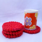 10cm Nepalese Handmade Woolen Red Colors Felt Ball Round Tea Coaster Trivets