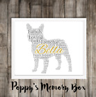 French Bulldog Personalised Frenchie Remembrance Word Art Gift Print ANY COLOURS