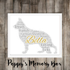 German Shepherd Personalised Memorial Word Art Birthday Gift Print ANY COLOURS