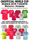 Childrens Kids Football Tshirts World Cup 2018 Personalised Gift Morocco-Uruguay