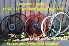 "Any Color 29""X4"" 36H Fat Tire Front & Rear Bicycle Wheel Set + Brakes/Freewheel"