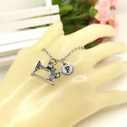 Sewing machine CHARM Initial Letter Necklace stamped monogram chain Pendant