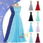 Long A-line Lace Chiffon Evening Formal Party Ball Gown Bridesmaid Prom Dress