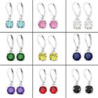 8mm Cubic Zirconia Dangle Earring Rhodium Plated Leverback Enclosed Gift Box image