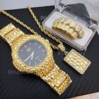 ICED OUT GOLD PLATED HIP HOP GOLDEN NUGGET WATCH & NECKLACE & GRILLZ COMBO SET  image