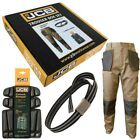 JCB TRADEMASTER Work Trousers Brown/Black with Belt & Knee Pads Box Set Mens